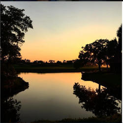 Sunset on the lake at The Villas Grand Cypress in Orlando