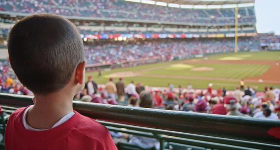boy watching spring training game