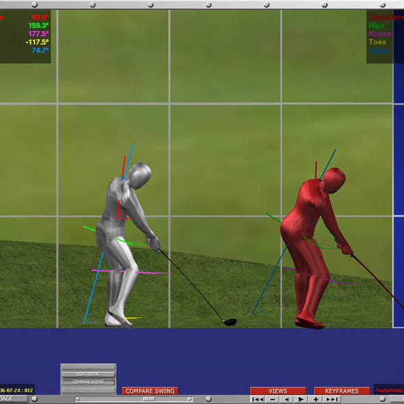 animation of a person's golf swing